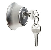 Deadbolt Lock with Keys on White