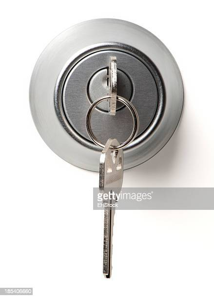 Deadbolt Lock with Keys Isolated on White Background