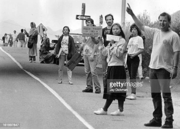 AUG 12 1987 Deadheads along hwy 26 just off of I70 trying to buy Grateful Dead concert tickets for tonight concert
