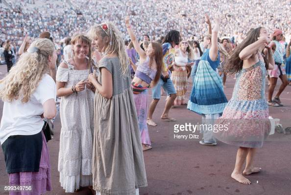 Deadheads followers of the Grateful Dead dance at a show in May 1991 Los Angeles California USA