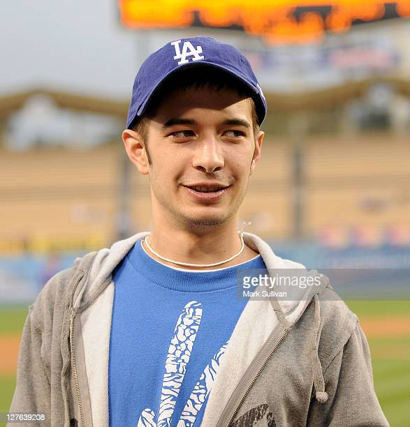 'Deadliest Catch' crew member Jake Harris after throwing out the ceremonial first pitch before The Los Angeles Dodgers game at Dodger Stadium on...