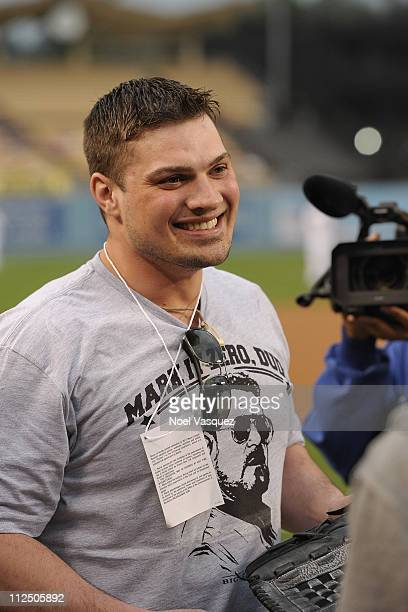 Deadliest Catch crew member Ryan Simpson attends a game between the Los Angeles Dodger and Atlanta Braves on April 18 2011 in Los Angeles California