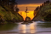 Deadman's Cove in Cape Disappointment State Park at Oregon Coast during Sunset