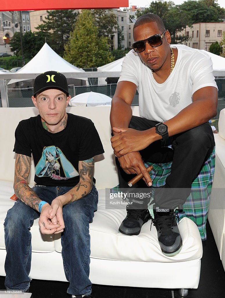 Deadmau5 (L) and JAY Z pose backstage during the 2013 Budweiser Made In America Festival at Benjamin Franklin Parkway on August 31, 2013 in Philadelphia, Pennsylvania.
