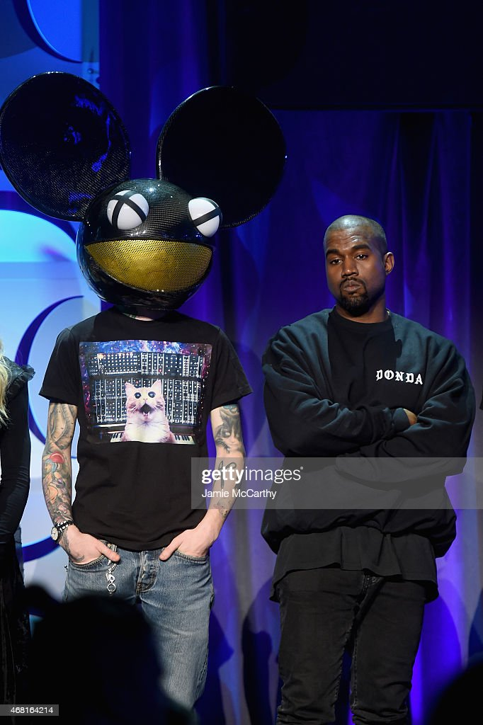 Deadmau5 and Kanye West onstage at the Tidal launch event #TIDALforALL at Skylight at Moynihan Station on March 30 2015 in New York City