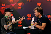 DJ Deadmau5 and radio host Pete Tong in the Elvis Duran Broadcast Room during the 2012 iHeartRadio Music Festival at the MGM Grand Garden Arena on...