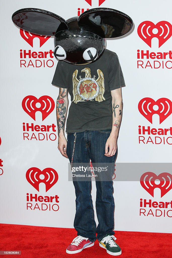 <a gi-track='captionPersonalityLinkClicked' href=/galleries/search?phrase=Deadmau5&family=editorial&specificpeople=5701846 ng-click='$event.stopPropagation()'>Deadmau5</a> arrives at iHeartRadio Music Festival press room at MGM Grand Garden Arena on September 22, 2012 in Las Vegas, Nevada.