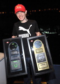 Deadmau5 is presented with a plaque for being the First Canadian Artist To Headline The Rogers Centre and Platinum album for '4x4=12' and Gold DVD...