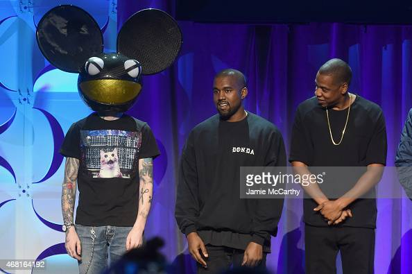 Deadmau5 Kanye West and JAY Z onstage at the Tidal launch event #TIDALforALL at Skylight at Moynihan Station on March 30 2015 in New York City