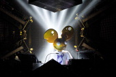Deadmau5 performs during the deadmau5 'Meowingtons Hax' tour presentation and show at Roseland Ballroom on October 4 2011 in New York City