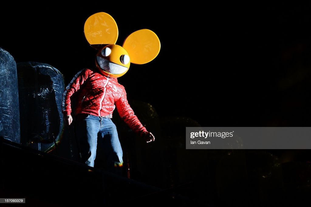Deadmau5 performs during the launch event of the New Nokia Lumia Range at Flat Iron Square on November 28 2012 in London England