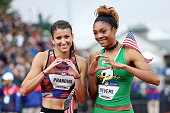 Deajah Stevens second place and Jenna Prandini third place celebrate after the Women's 200 Meter Final during the 2016 US Olympic Track Field Team...