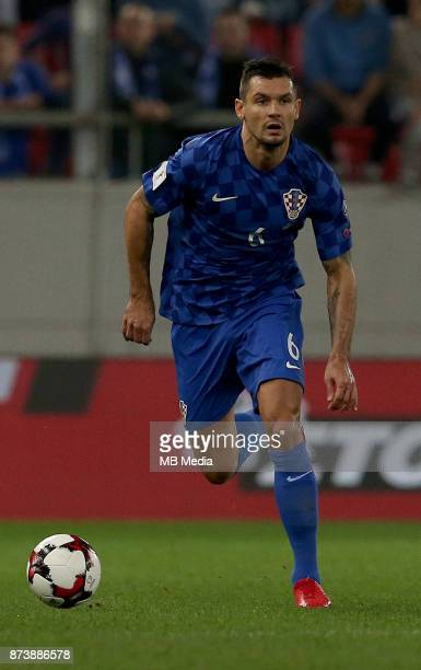 Deajn Lovren of Croatia controls the ball during the FIFA 2018 World Cup Qualifier playoff second leg match between Greece and Croatia at Georgios...