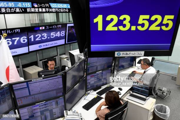Dealers watch computer terminals while Euro/Yen rate are displayed at the Tokyo foreign currency market in Tokyo on May 8 2017 The euro rallied to a...