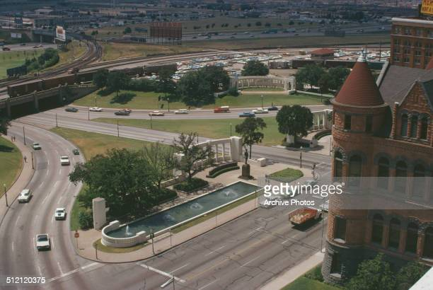 Dealey Plaza in Dallas Texas USA the location of the 1963 assassination of US President John F Kennedy circa 1963