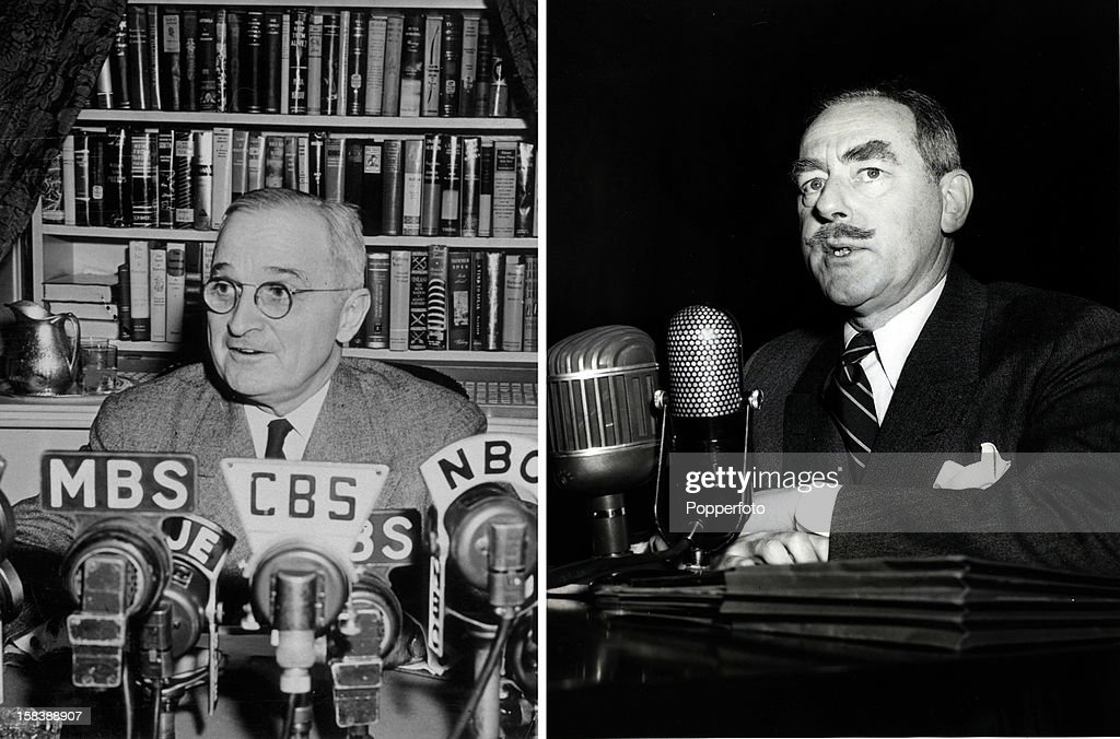 In this composite image a comparison has been made between former US President Harry S Truman and his serving Secretary of State Dean Acheson. UNSPECIFIED - circa 1949: Dean Acheson, (1893-1971) US Politician pictured when he was Secretary of State designate appearing before a Senate Foreign Relations committee around 1949. Dean Acheson was a successful lawyer who rose in political circles to become American Secretary of State 1949-1952.