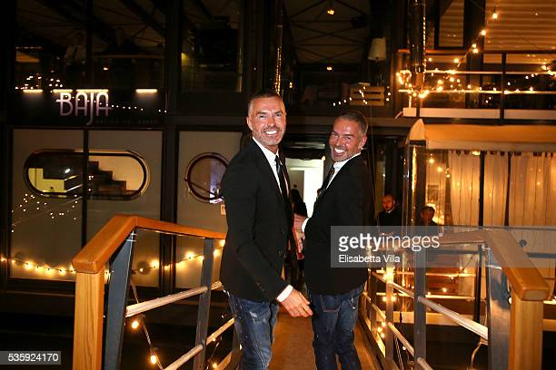 Dean and Dan Caten arrive at Dsquared2 dinner party at Baja on May 30 2016 in Rome Italy