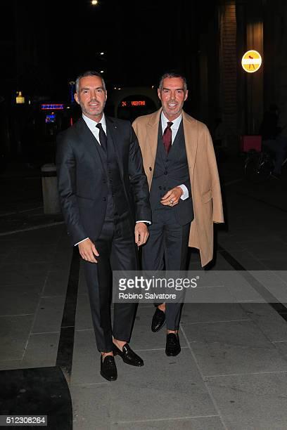 Dean and Dan Caten arrive at Vogue Dinner for Instagram at Giacomo Arengario Restaurant in Piazza Duomo Milan