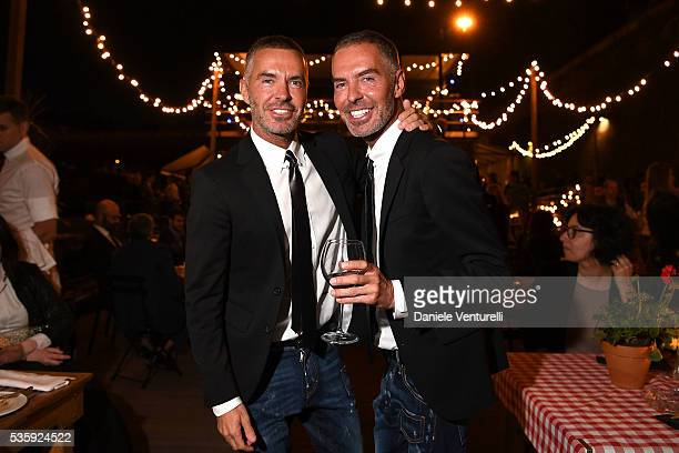 Dean and Dan Caten attend Dsquared2 dinner party at Baja on May 30 2016 in Rome Italy