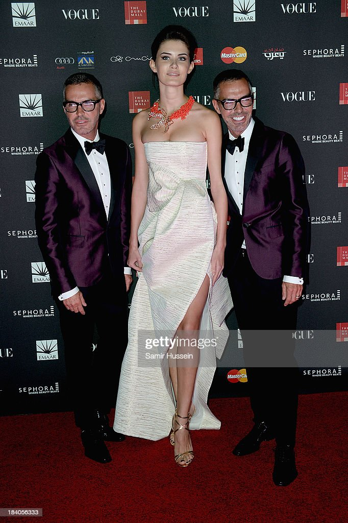Dean and <a gi-track='captionPersonalityLinkClicked' href=/galleries/search?phrase=Dan+Caten&family=editorial&specificpeople=877354 ng-click='$event.stopPropagation()'>Dan Caten</a> attends the gala dinner at the Armani Pavilion during Vogue Fashion Dubai Experience on October 10, 2013 in Dubai, United Arab Emirates.