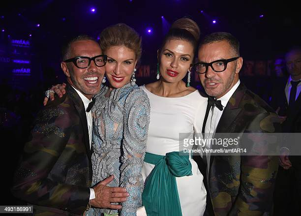 Dean and Dan Caten with Hofit Golan and Victoria Bonya attend amfAR's 21st Cinema Against AIDS Gala Presented By WORLDVIEW BOLD FILMS And BVLGARI at...