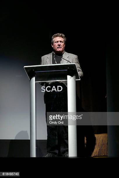 Dean Ayers speaks onstage during the Sam Claflin Spotlight Award Presentation during the 19th Annual Savannah Film Fetival presented by SCAD on...