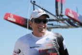 Dean Barker is seen during the second day of America's Cup World Series on August 7 2011 in Cascais Portugal