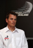 Dean Barker skipper of Team New Zealand takes part during an Emirates Team New Zealand press conference on April 21 2011 in Auckland New Zealand Team...