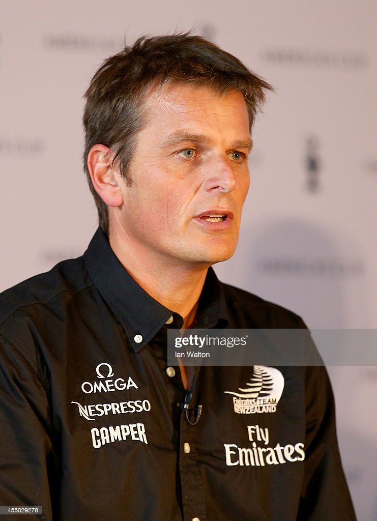 Dean Barker speaks to the press during the Americas Cup press conference to promote the 35th america's cup at St Pancras Renaissance hotel on...