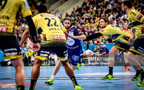 Dean Bombac of Tauron Kielce in action during the EHF Men's Champions League Group Phase game between RheinNeckar Loewen and KS Vive Tauron Kielce at...