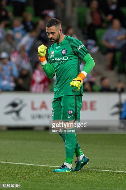 Dean Bouzanis of Melbourne City celebrates Melbourne City second goal during the 4th round of the Hyundai ALeague between Melbourne City and Adelaide...