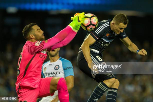 Dean Bouzanis of Melbourne City collects the ball after a header from Besart Berisha of Melbourne Victory during the round 18 match of the Hyundai...