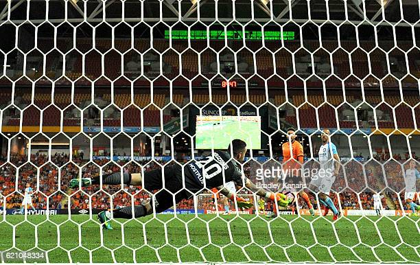Dean Bouzanis of Melbourne City makes a save during the round five ALeague match between the Brisbane Roar and Melbourne City FC at Suncorp Stadium...