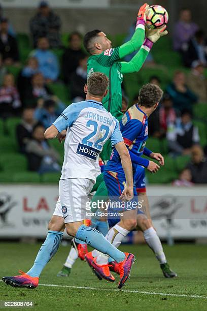 Dean Bouzanis of Melbourne City receives the ball after a corner kick during the 6th round of the Hyundai ALeague between Melbourne City and the...
