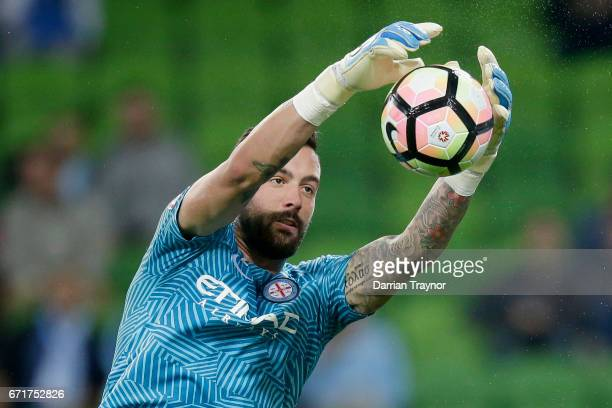 Dean Bouzanis of Melbourne City warms up before the ALeague Elimination Final match between Melbourne City FC and the Perth Glory at AAMI Park on...