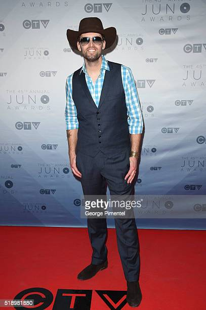 Dean Brody arrives at the 2016 Juno Awards at Scotiabank Saddledome on April 3 2016 in Calgary Canada
