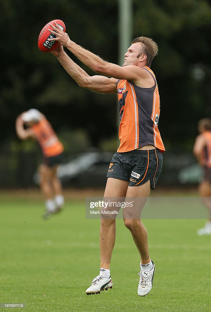 <a gi-track='captionPersonalityLinkClicked' href=/galleries/search?phrase=Dean+Brogan&family=editorial&specificpeople=209025 ng-click='$event.stopPropagation()'>Dean Brogan</a> in action during a Greater Western Sydney Giants AFL pre-season training session at Lakeside Oval on November 28, 2012 in Sydney, Australia.