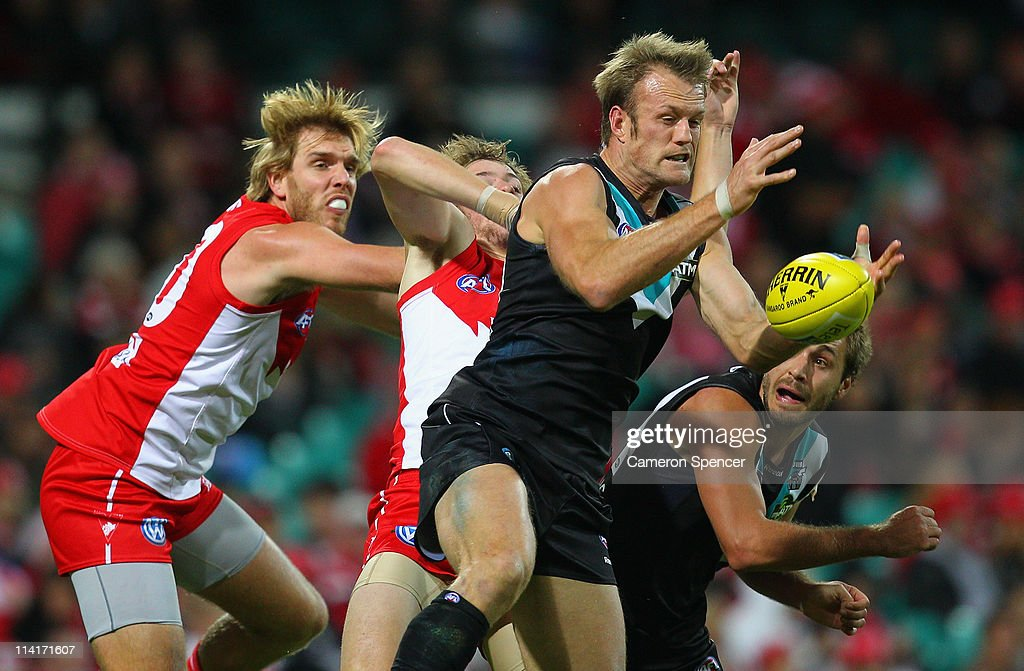 Dean Brogan of Power marks during the round eight AFL match between the Sydney Swans and the Port Adelaide Power at Sydney Cricket Ground on May 14...
