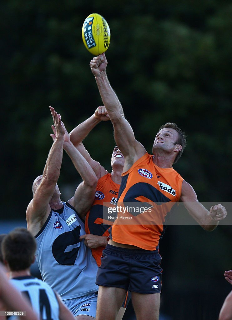 Dean Brogan of the Giants competes for the ball during the Greater Western Sydney Giants IntraClub AFL match at Lakeside Oval on February 10 2012 in...