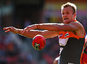Dean Brogan of the Giants in action during the round seven AFL match between the Greater Western Sydney Giants and the Adelaide Crows at Skoda...