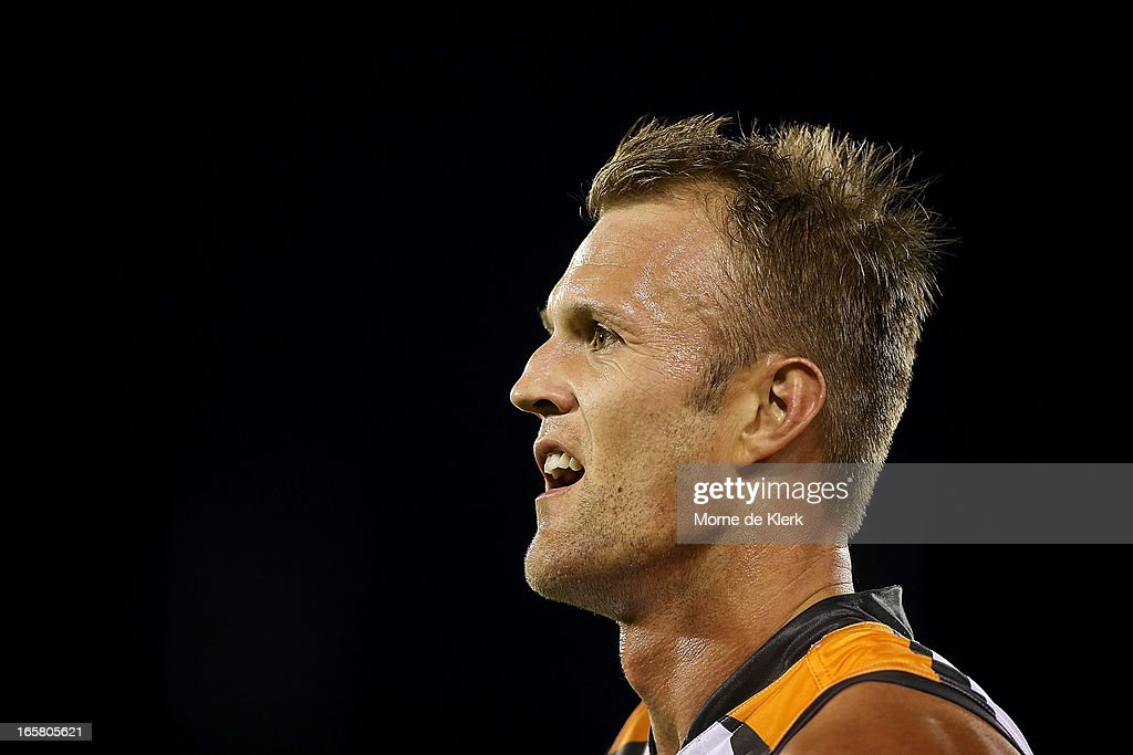 Dean Brogan of the Giants looks on during the round two AFL match between Port Adelaide Power and the Greater Western Sydney Giants at AAMI Stadium...
