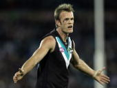 Dean Brogan of the Power during the round 15 AFL match between the Port Adelaide Power and the Collingwood Magpies at AAMI Stadium on July 9 2010 in...