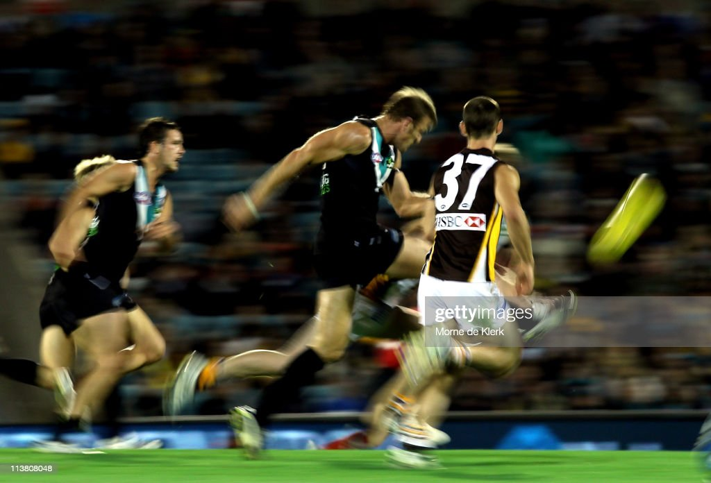 Dean Brogan of the Power kicks the ball during the round seven AFL match between Port Adelaide Power and the Hawthorn Hawks at AAMI Stadium on May 6...