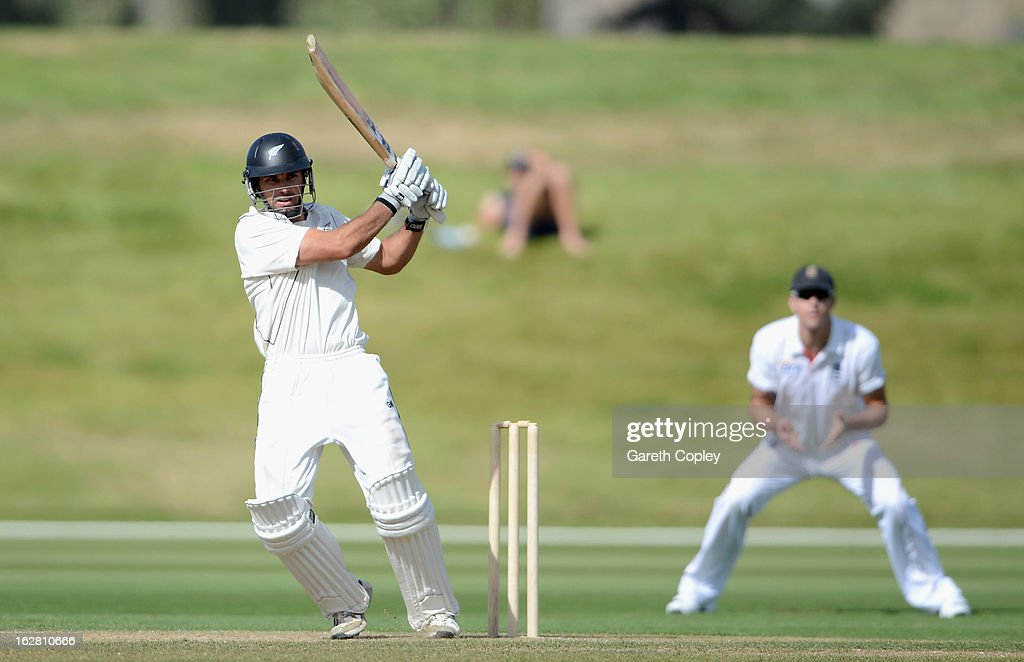 Dean Brownlie of a New Zealand XI bats during day two of the International tour match between the New Zealand XI and England at Queenstown Events Centre on February 28, 2013 in Queenstown, New Zealand.