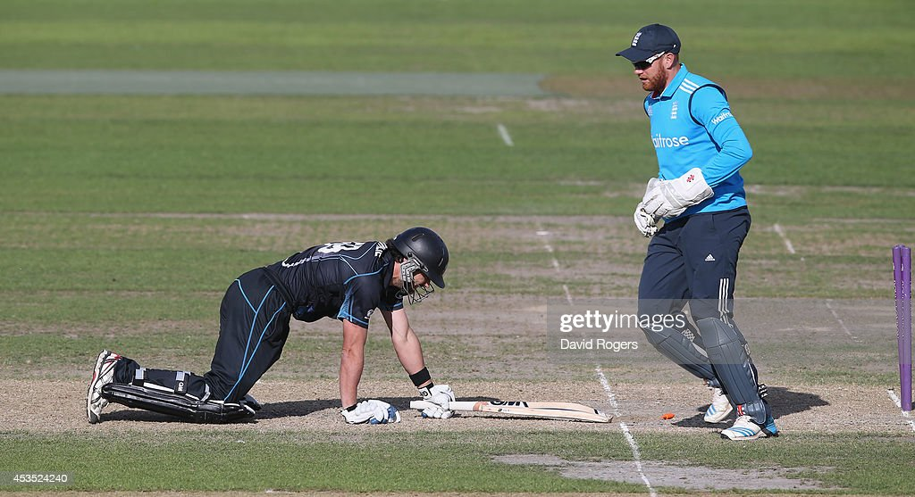 Dean Brownlie of New Zealand A is stumped by wicketkeeper Jonny Bairstow during the Triangular Series match between England Lions and New Zealand A at New Road on August 12, 2014 in Worcester, England.