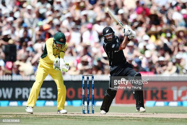 Dean Brownlie of New Zealand bats during game three of the One Day International series between New Zealand and Australia at Seddon Park on February...