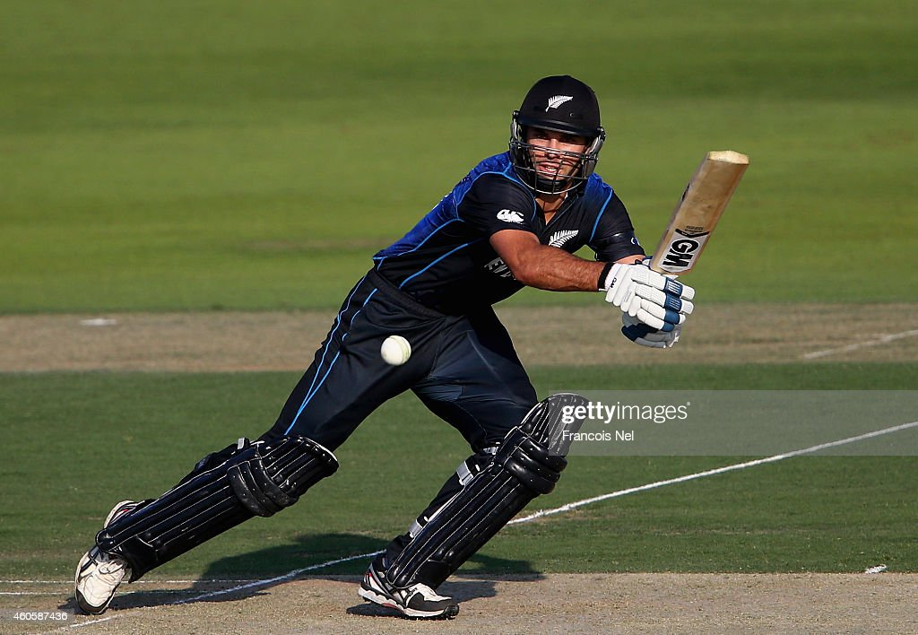 Dean Brownlie of New Zealand bats during the 4th One Day International match between Pakistan and New Zealand at Sheikh Zayed Stadium on December 17, 2014 in Abu Dhabi, United Arab Emirates.