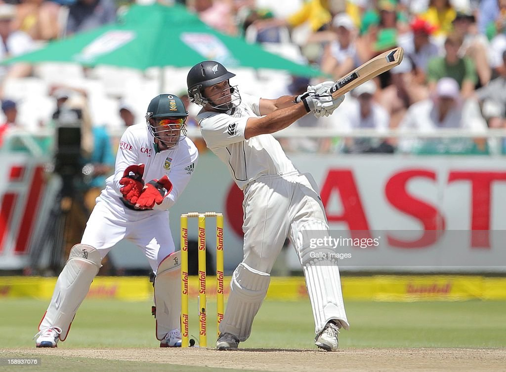 Dean Brownlie of New Zealand in action during day 3 of the 1st Test between South Africa and New Zealand at Sahara Park Newlands on January 04, 2013 in Cape Town, South Africa.