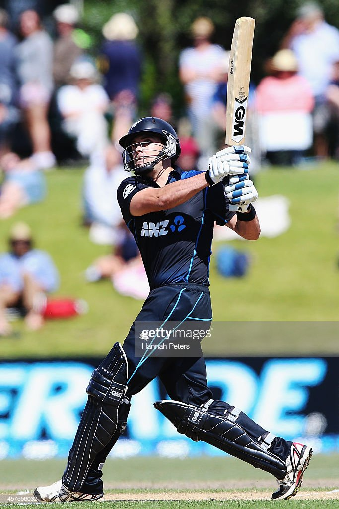 Dean Brownlie of New Zealand plays the ball away for six runs during the One Day International match between New Zealand and South Africa at Bay Oval on October 21, 2014 in Mount Maunganui, New Zealand.