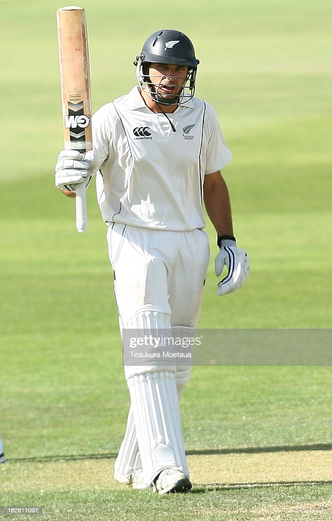 Dean Brownlie of the New Zealand XI celebrates 50 during day two of the International tour match between the New Zealand XI and England at Queenstown Events Centre on February 28, 2013 in Queenstown, New Zealand.